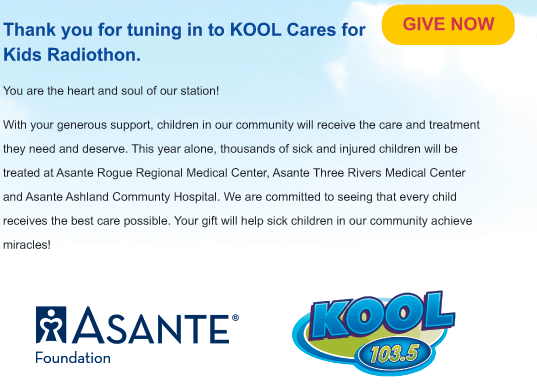 KOOL Cares for Kids Radiothon - supporting Asante hospitals