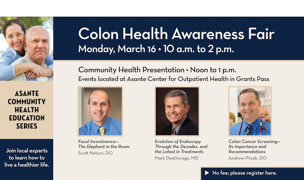 Colon Health Fair, March 16 in Grants Pass, Oregon