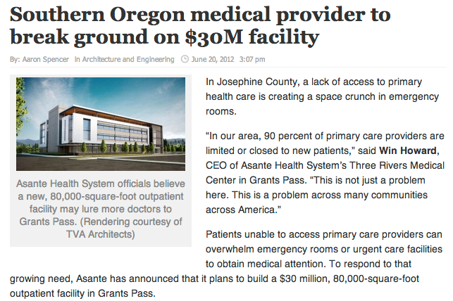 Asante Center for Outpatient Health - June 12, 2012, Daily Journal of Commerce