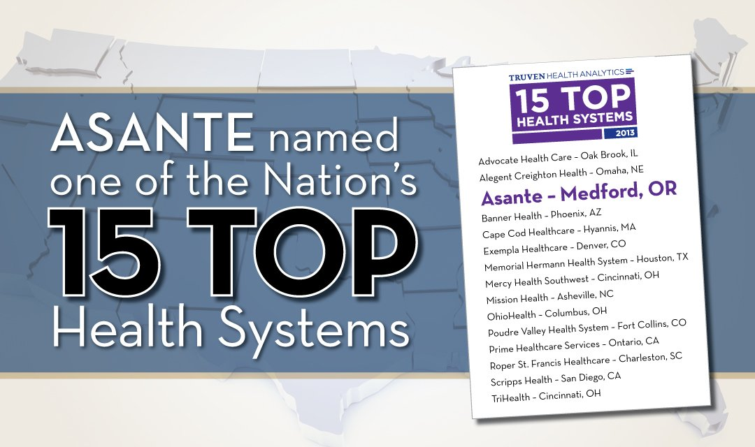 Asante named one of the Nation's 15 Top Health Systems