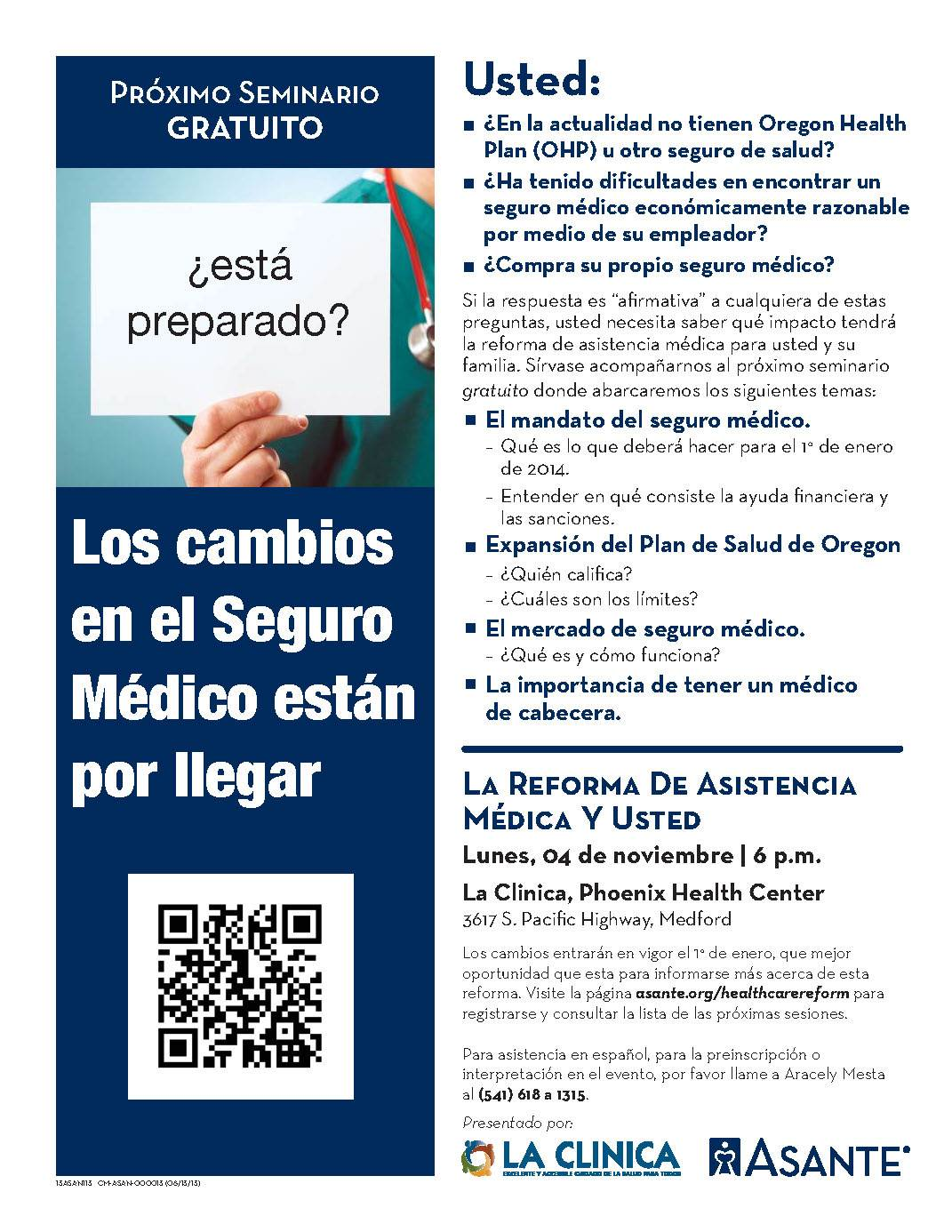 La Clinica Healthcare Reform Seminar spanish