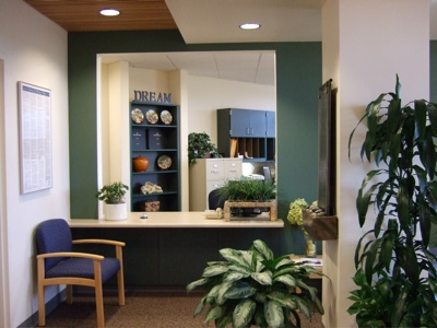 A view of the reception desk