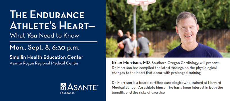 "Monday, September 8 at 6:30 pm. Dr. Brian Morrison presents, ""The Endurance Athlete's Heart - What You Need to Know"""