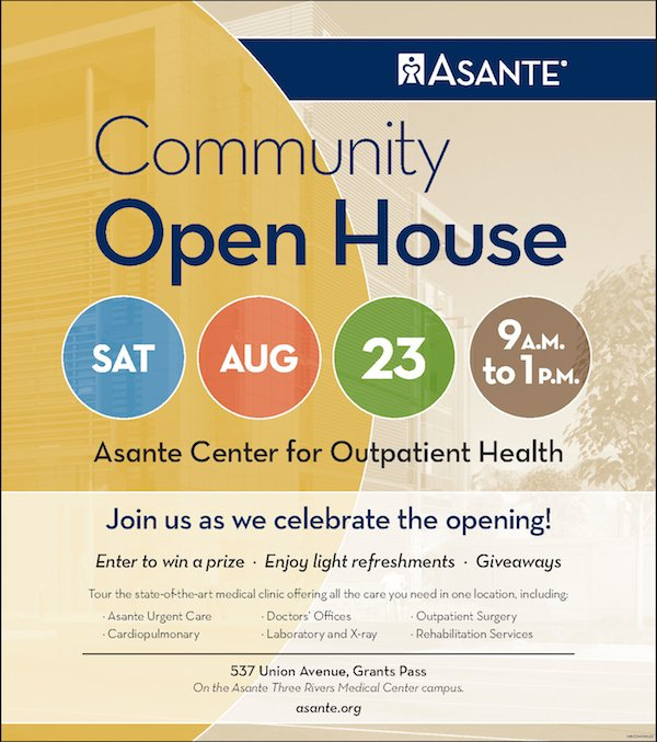 Community Open House, Saturday August 23 9 am to 1 pm - Asante Center for Outpatient Health